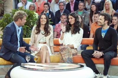 (v.l.) Oliver Geissen, Johanna Klum, Rebecca Mir und Steffen Henssler (c) RTL / Max Kohr